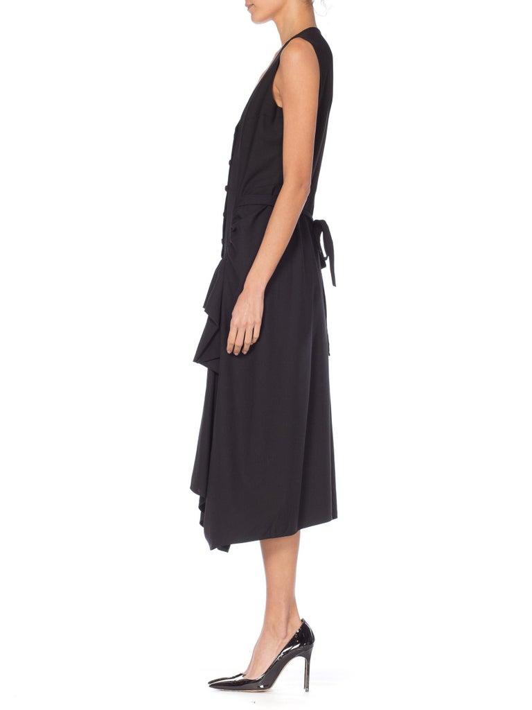1980S MORGANE LE FAY Black Wool Tuxedo Vest Ruffle Front Asymmetrical Dress For Sale 7
