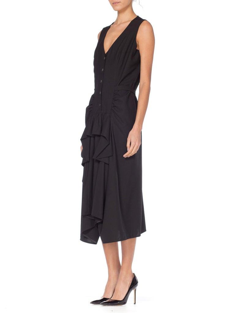 Women's 1980S MORGANE LE FAY Black Wool Tuxedo Vest Ruffle Front Asymmetrical Dress For Sale