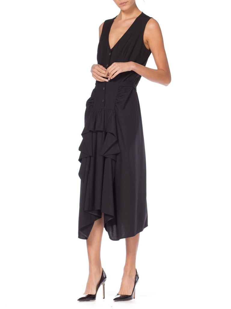1980S MORGANE LE FAY Black Wool Tuxedo Vest Ruffle Front Asymmetrical Dress For Sale 1