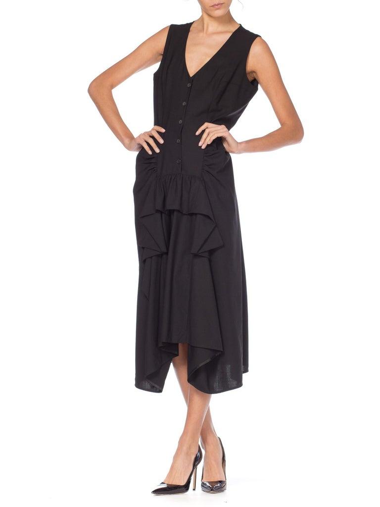 1980S MORGANE LE FAY Black Wool Tuxedo Vest Ruffle Front Asymmetrical Dress For Sale 2