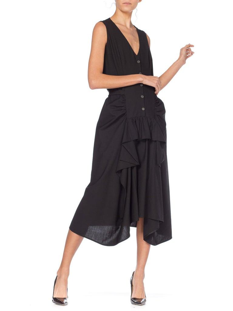 1980S MORGANE LE FAY Black Wool Tuxedo Vest Ruffle Front Asymmetrical Dress For Sale 3