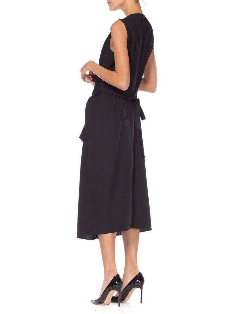 1980S MORGANE LE FAY Black Wool Tuxedo Vest Ruffle Front Asymmetrical Dress For Sale 4
