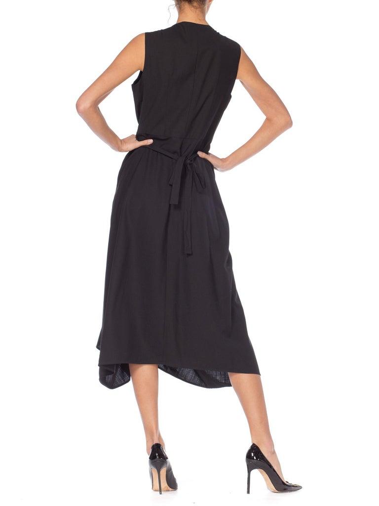 1980S MORGANE LE FAY Black Wool Tuxedo Vest Ruffle Front Asymmetrical Dress For Sale 5
