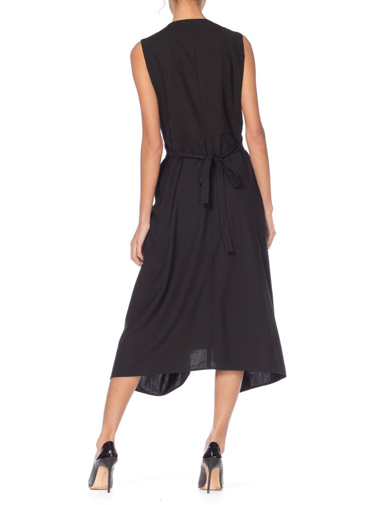 1980S MORGANE LE FAY Black Wool Tuxedo Vest Ruffle Front Asymmetrical Dress For Sale 6