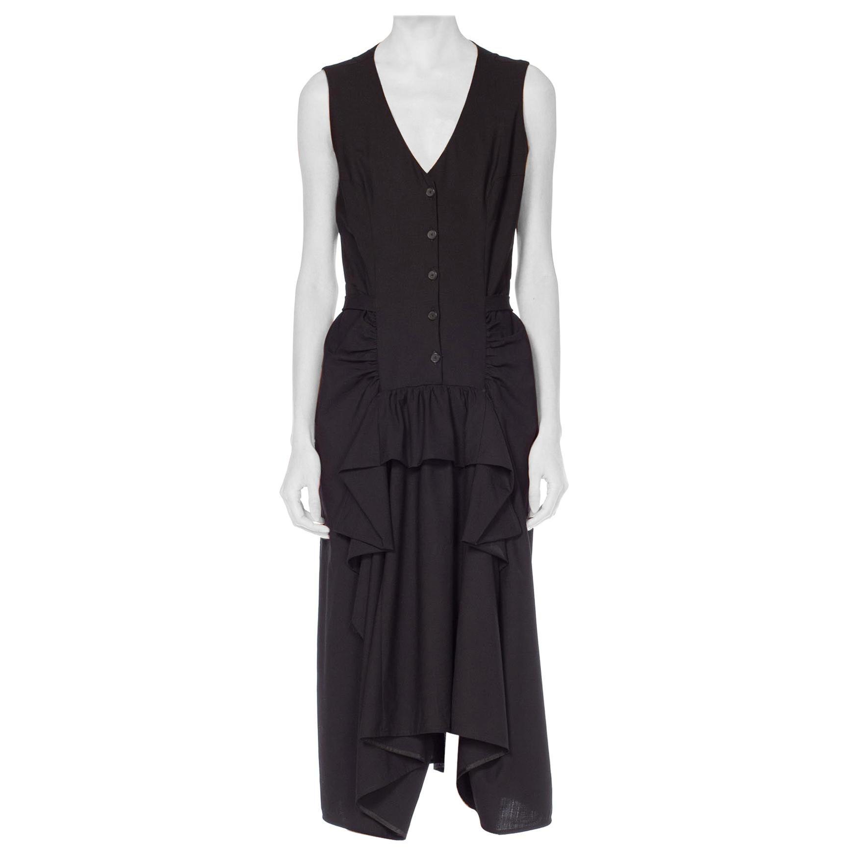 1980S MORGANE LE FAY Black Wool Tuxedo Vest Ruffle Front Asymmetrical Dress