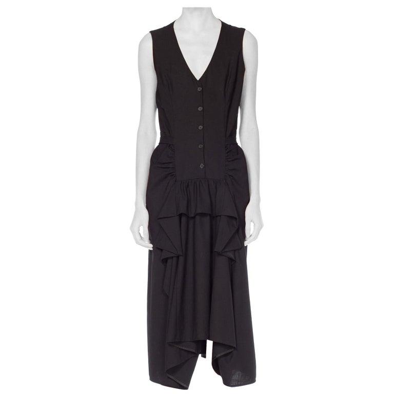1980S MORGANE LE FAY Black Wool Tuxedo Vest Ruffle Front Asymmetrical Dress For Sale