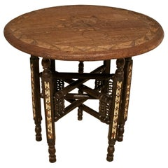 1980s Moroccan Hand Carved Round Wooden Inlay Table