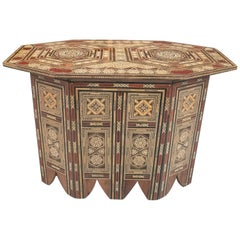 1980s Moroccan Inlay Wooden Table with Ornamental Geometric Decorations
