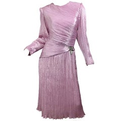 1980s Morton Myles Size 10 Pink / Purple Fortuny Pleated Silk Beaded 80s Dress