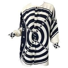 1980s Moschino Cheap & Chic Bullseye Black and White Size 8 Vintage Tunic Dress
