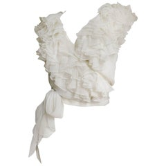 1980s Moschino Couture New Ruffle Wrap Silk Top