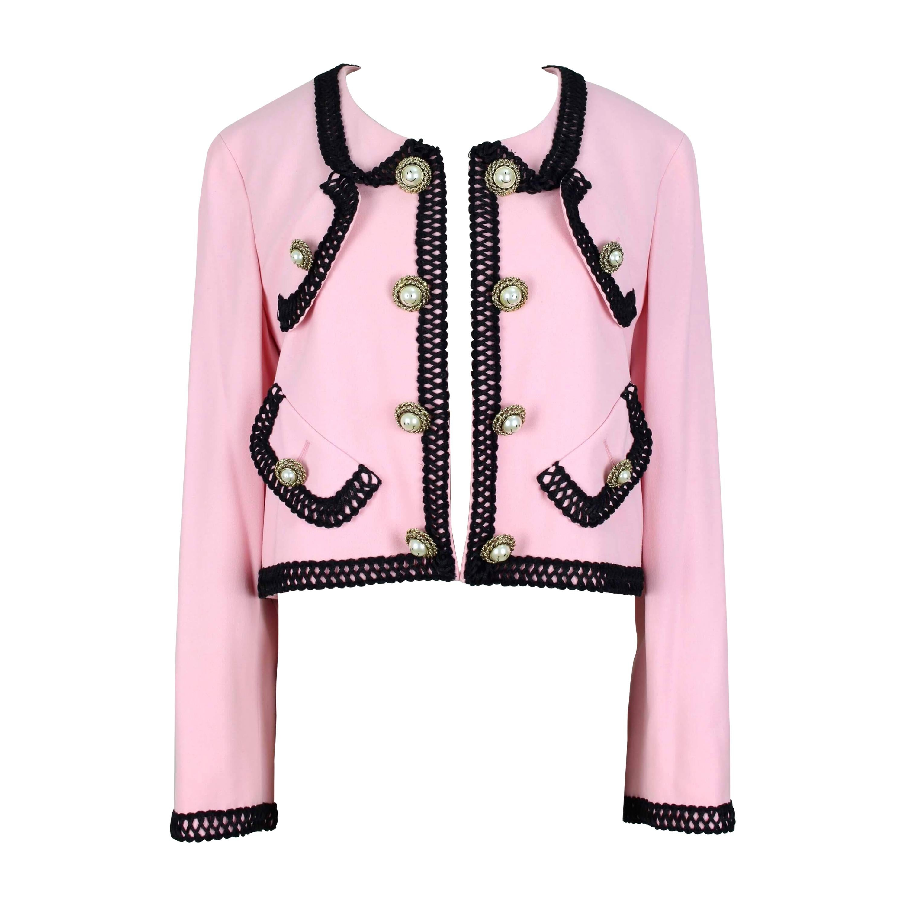 MOSCHINO COUTURE! Pink Wool Smiley Face Buttons Chanel Inspired Jacket, c. 1992