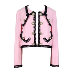 1980s MOSCHINO COUTURE! Pink Wool Smiley Face Buttons Chanel Inspired Jacket