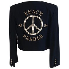 1980s Moschino Peace & Pearls Embellished Jacket