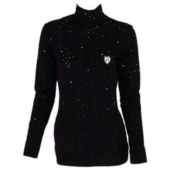 1980s  Moschino Star Gazer embroidered rhinestone silky pullover top