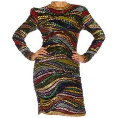 1980S Multicolor Beaded Silk & Rayon Long Sleeve Cocktail Dress