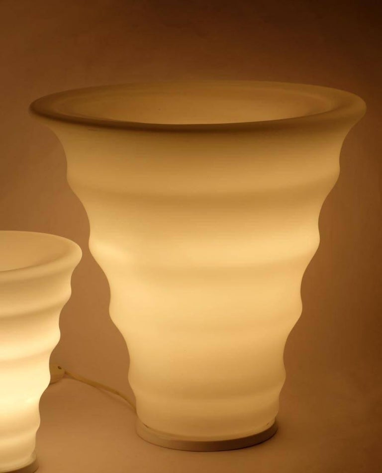 1980s Murano Glass Italian Design Set of Three Table Lamps For Sale 1