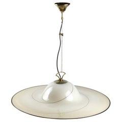 1980s Murano Italian Glass Pendant Lamp Attibuted to Seguso Vetri d'Arte
