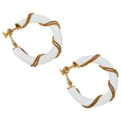 1980s Napier Nautical White Enamel Hoop Earrings with Gold Rope Detail, Signed