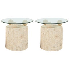 1980s Natural Mactan Stone End/Side Tables