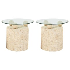 1980s Natural Mactan Stone End/Side Tables with Glass Tops