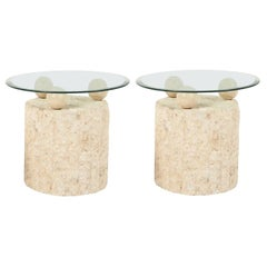 1980s Natural Mactan Stone End or Side Tables with Glass Tops
