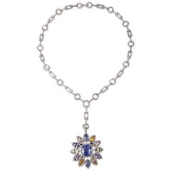 1980s Natural No Heat Sapphire Diamond Pendant Necklace