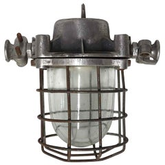 1980s Nautical Steel & Glass Shade Ship Corridor Light with Cage