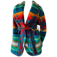 1980s Navaho-Style Pendleton Belted Blanket Coat In Gorgeous Vibrant Color Schem