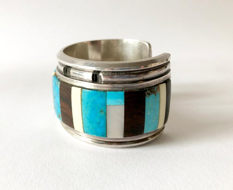 Native American 1980s Navajo Turquoise Coral Wood Onyx Shell Mosaic Sterling Cuff Bracelet For Sale
