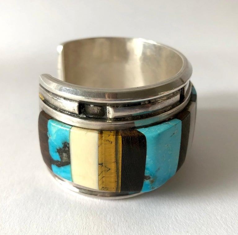 Women's or Men's 1980s Navajo Turquoise Coral Wood Onyx Shell Mosaic Sterling Cuff Bracelet For Sale
