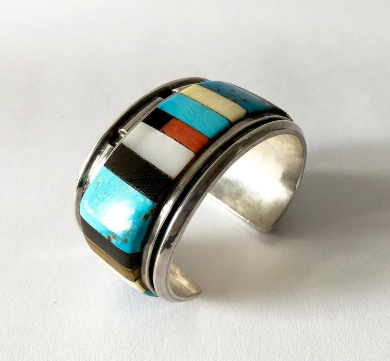 1980s Navajo Turquoise Coral Wood Onyx Shell Mosaic Sterling Cuff Bracelet For Sale 1