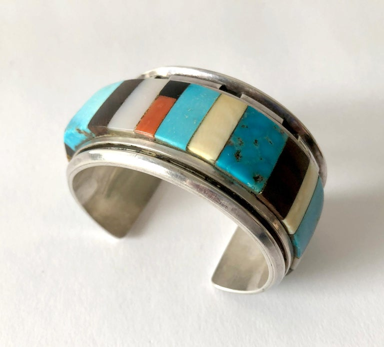 1980s Navajo Turquoise Coral Wood Onyx Shell Mosaic Sterling Cuff Bracelet For Sale 2