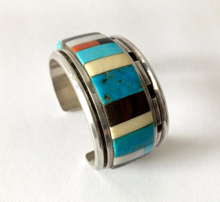 1980s Navajo Turquoise Coral Wood Onyx Shell Mosaic Sterling Cuff Bracelet For Sale 3