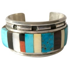 1980s Navajo Turquoise Coral Wood Onyx Shell Mosaic Sterling Cuff Bracelet