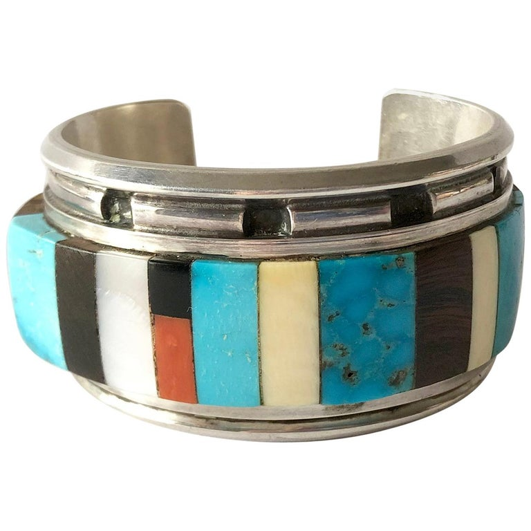 1980s Navajo Turquoise Coral Wood Onyx Shell Mosaic Sterling Cuff Bracelet For Sale