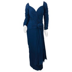 1980s Navy Blue Silk Chiffon Couture Ruched Long Sleeve Vintage 80s Gown Dress