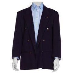 1980S ALESSANDRO Navy Blue Wool Men's New Wave Double Breasted Blazer From Fran
