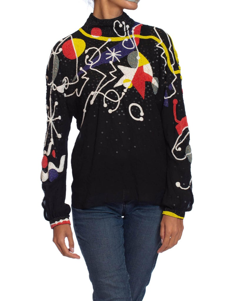 1980S NEIL BIEFF Black Hand Beaded Silk Jean Miro Inspired Abstract Art Blouse In Excellent Condition For Sale In New York, NY