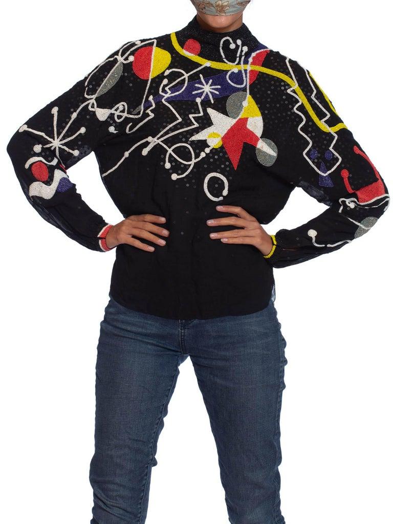 Women's 1980S NEIL BIEFF Black Hand Beaded Silk Jean Miro Inspired Abstract Art Blouse For Sale