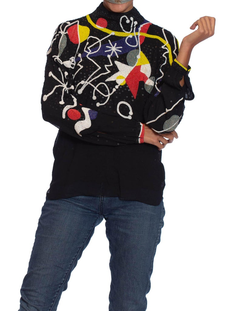 1980S NEIL BIEFF Black Hand Beaded Silk Jean Miro Inspired Abstract Art Blouse For Sale 2