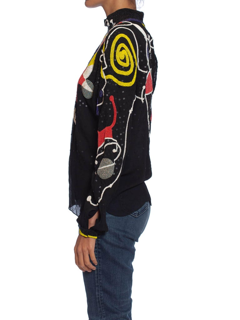 1980S NEIL BIEFF Black Hand Beaded Silk Jean Miro Inspired Abstract Art Blouse For Sale 4