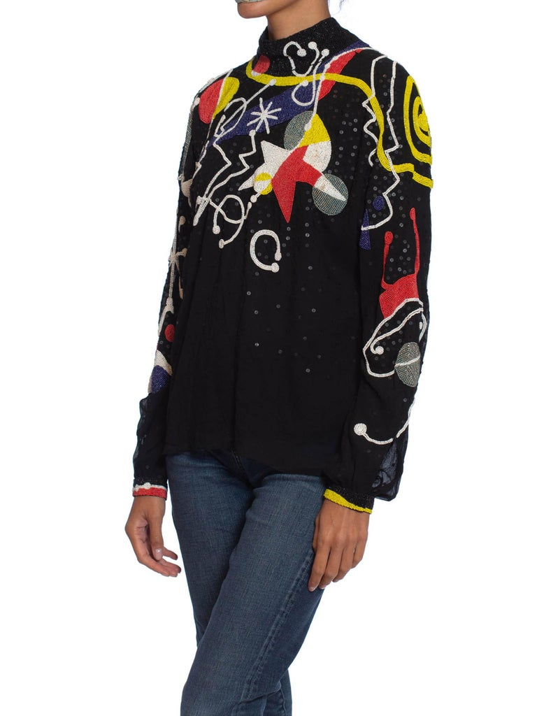 1980S NEIL BIEFF Black Hand Beaded Silk Jean Miro Inspired Abstract Art Blouse For Sale 5