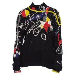 1980S NEIL BIEFF Black Hand Beaded Silk Jean Miro Inspired Abstract Art Blouse