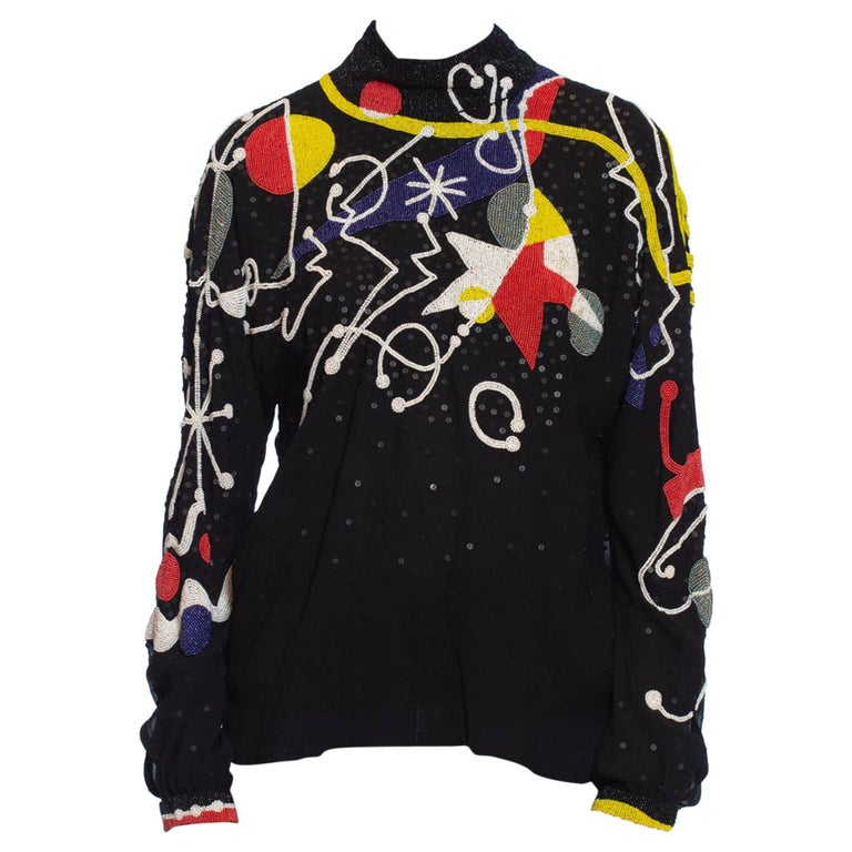 1980S NEIL BIEFF Black Hand Beaded Silk Jean Miro Inspired Abstract Art Blouse For Sale