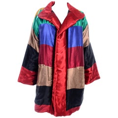1980s Neiman Marcus Colorful Reversible Jacket Vintage Rainbow Satin Coat