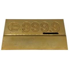 1980s Neiman Marcus Gold-Plated Brick Desktop Bank
