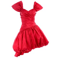 1980s Neiman Marcus Vintage Red Ruched Asymmetrical Party Dress W Puff Skirt