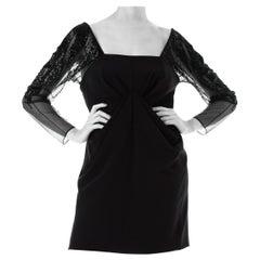 1980S Black Rayon Blend Faille Off The Shoulder Beaded Sheer Net Sleeved Cockta