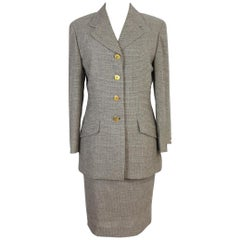 1980s New Brioni Brown Houndstooth Wool Skirt Suit Dress Romina Model